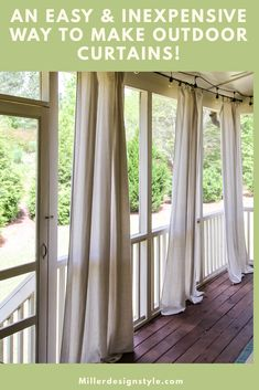 no sewing required! I made these curtains for my screen porch and they were so easy to do! I have everything you need listed here. They can also easily be taken down and washed when needed. Screened Porch Curtains, Outdoor Curtains For Patio, Screened Porch Decorating, Screened In Patio, Outdoor Decor, Balcony Curtains, Outdoor Living, Outdoor Shades For Porch, Outdoor Rooms