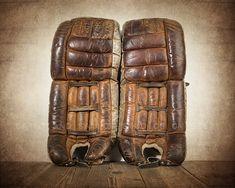 Vintage Hockey Goalie Leg Pads Photo Photo art by shawnstpeter Hockey Goalie Pads, Hockey Helmet, Ice Hockey, Goalie Gear, Montreal Canadiens, Vintage Sports Nursery, Professional Photo Lab, Boys Room Decor, Super Sport