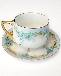 Antique Hand Painted Forget Me Not Floral Tea Cup Rosenthal $85