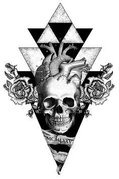 Proyecto tatuaje: Calavera geométrica, 2015 #tattoo #skull #tatuaje diseño #diseño #tatuaje #calavera #rosas #corazon #vintage #geometric #tattoosgeometric #xoloitzcuintle-studio #xoloitzcuintleStudio
