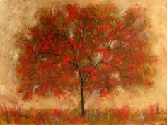 Abstract Red Tree - by Patty Baker