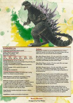 Godzilla as a D&D Monster. My day is officially made 👍 Dungeons And Dragons 5e, Dungeons And Dragons Homebrew, Monster Characters, Dnd Characters, Fantasy Creatures, Mythical Creatures, Godzilla, Dnd Stats, Dnd Classes