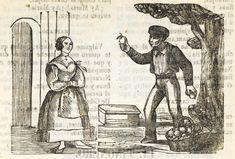 Xilografía en cabecera con 2 figuras de personas de pie, una mujer con un collar con una cruz, delante de una puerta y un hombre con una naranja en cada mano y una cesta de naranjas en el suelo.