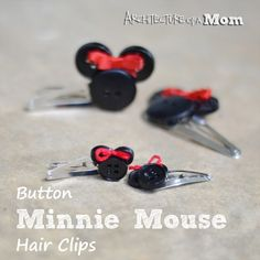 Minnie Mouse Button Hair Clips