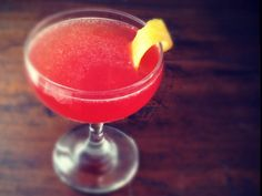 applejack flamingo: applejack, blood orange juice, lemon juice, maple syrup, orange bitters - delish!