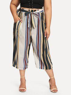 b5d0de0ac74 Plus Striped Wide Leg Pants with Belt -SheIn(Sheinside) Belt Online