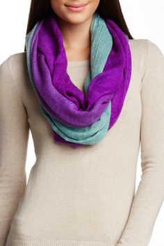 Two-Tone Brushed Gauze Infinity Scarf by Blue Pacific on 100% cotton 89.00 pd18.00@nordstrom_rack
