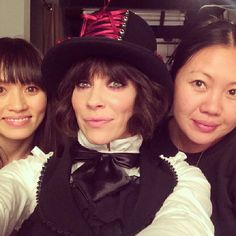Evangeline Lilly ... Backstage @jimmykimmel with the fabulous and talented @jennychohair and @storyofmailife.  #thesquickwonkers #Squickercostume #hair #makeup #toomuchfun!