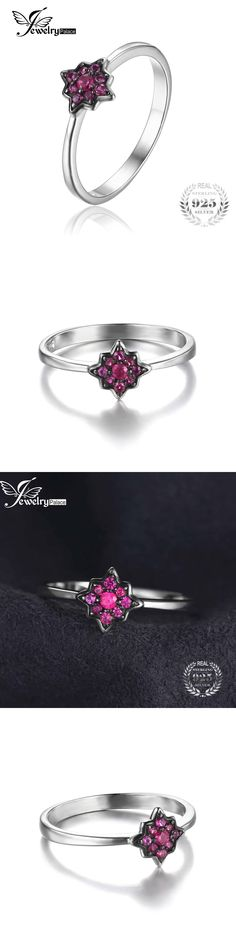 JewelryPalace Fashion Women Flowers Created Ruby Rings 100% Real 925 Sterling-Silver-Jewelry Charms Party Wedding 2017 Gift