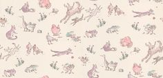 Quentin's Menagerie (W6063/03) - Osborne & Little Wallpapers - Farmyard frolics by Quentin Blake - irresistibly playful dogs bound through various fun animals in pinks and purples on a creamy beige background. Additional colourways & co-ordinating fabric also available. Please order sample for true colour match.