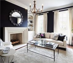 Black and White Living Room Designs, Decorating Ideas Blue And White Living Room, Beige Living Rooms, Living Room Grey, Living Room Modern, Small Living, Living Room Decor Colors, Living Room Designs, Masculine Living Rooms, Design Salon