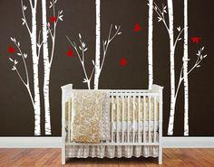 Tree wall sticker, nursery wall decal - Six Big Birch Trees with Flying birds