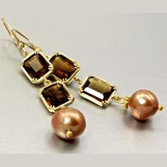 14ct Gold Filled Hand Made Earrings - Freshwater Pearl & Cubic Zirconia SMOKY BROWN. http://www.belovedtreasures.com.au/proddetail.asp?prod=asc-ear-00015