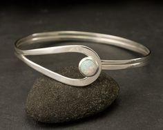 Sterling Silver Opal Bracelet- Sterling Silver Latch Bracelet- handmade
