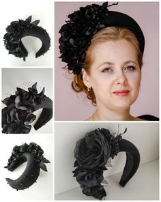 Black Fascinator, Fascinator Headband, Floral Fascinators, Floral Headbands, Halo Headband, Headband Styles, Flower Hair Pieces, Flowers In Hair, Headpiece Wedding