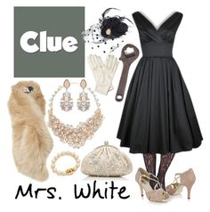 """Mrs. White 1 - Clue"" by b-scottyer ❤ liked on Polyvore featuring Wet Seal, Ted Baker, Forever New, Kate Spade and Wolford"