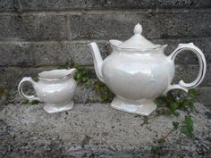 Vintage teapot and milk jug/pitcher  old English by EmpireAntiques