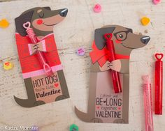 Dachshund Weiner Dog Printable valentines for bubbles, pencils, candy, suckers, and more by Kudzu Monster