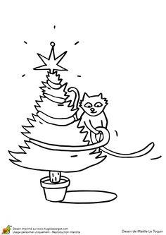 Coloriage d'un chat qui décore son sapin de Noël avec une guirlande.