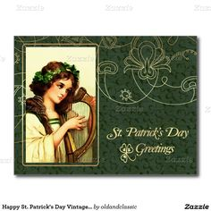 Happy St. Patrick's Day Customizable Postcards with a vintage Irish Girl image. Matching cards, postage stamps and other products available in the Holidays / St. Patrick's Day Category of the oldandclassic store at zazzle.com