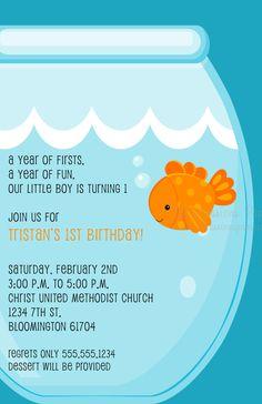 Goldfish Birthday Party Invitations. $11.00, via Etsy.
