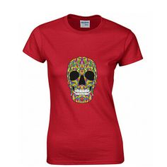 Scary Skull Fashion Print 100% Cotton Women's T-shirt