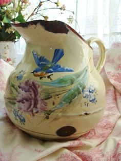 Magnificent French Hand-Painted Pitcher, c. 1860, rubylane.com --  Add to your vintage and antique collections with great finds from www.rubylane.com #rubylane