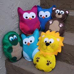 """Dimensions:  Owl- 12""""H X 9-1/2""""W  Bears-13-1/2""""H X 9""""W  Turtle- 12-1/2""""H X 10""""W  Lion-15""""H X 9-1/2""""W  Porcupine- 14-1/2""""H X 10""""W  Turtle, lion, and panda bear have detail on back."""