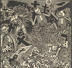 Walter Sauer, Dance of Death (1925). Woodblock. From the Richard Harris Collection.