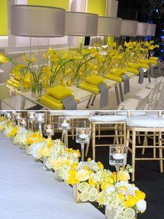 Decoração amarela: flores no cortejo e na mesa
