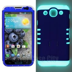 Royal Blue Hard Cover w/ Glow in Dark Silicone for LG Optimus G Pro E980 Case