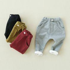 Korean Winter Boys Girls Harem Pants Children Baby Cotton Cashmere Leisure Trousers Thickening All-match Elastic Waist Kids Pant