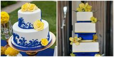 Bajan (Barbados) Inspired Wedding Cake :Navy Blue and Yellow Cake