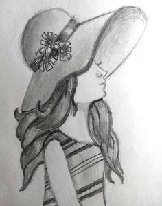 girl with hat drawing Abstract Pencil Drawings, Pencil Drawings Of Girls, Pencil Sketch Drawing, Girl Drawing Sketches, Girly Drawings, Princess Drawings, Art Drawings Sketches Simple, Sketch Painting, Pencil Drawing Inspiration