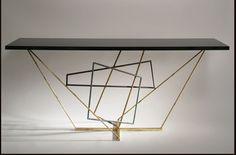 Tricolour Rhomboid Console Table by Porta Romana
