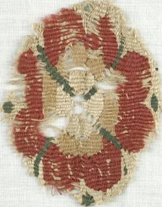 MEDIUM Flax, Wool DATES 5th-7th century C.E. DIMENSIONS 3 x 4 in. (7.6 x 10.2 cm)  (show scale)