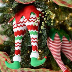 ELF BOTTOM CHRISTMAS Tree Pick Ornament Decor Unique Elves Legs Butt Feet Funny Holiday Festive Home Santas Little Helpers Chevron Striped