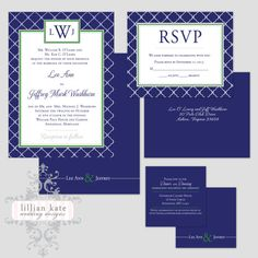 Printable PREPPY MONOGRAM Wedding Invitation Suite - Invitation, rsvp and reception card