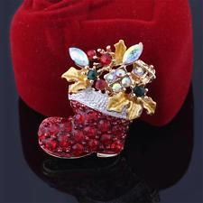 Sparkling Gift Red Santa Boots Jewerly Crystal Rhinestone Christmas Brooch Pin