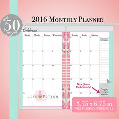 Monthly Planner Inserts for 2016! Never too early to start planning my Filofax's cute pages for next year.