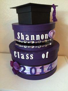 Custom Two Tiered Round Purple Graduation Card Box on Etsy, $50.00
