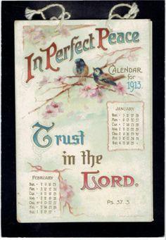 Victorian Edwardian Christmas Calendar Card Religious Psalms Birds | eBay