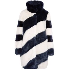 J.Crew Geo striped faux fur coat (370 BAM) ❤ liked on Polyvore featuring outerwear, coats, jackets, coats & jackets, fur, midnight blue, j crew coats, imitation fur coats, blue turtleneck and fake fur coats