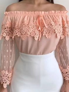 Plain Lace Off Shoulder Long Sleeve Womens Blouse We carry a wide array of the hottest styles of tops, bottoms, dresses, jewelry, and accessories. Stylish Dresses, Fashion Dresses, Look Fashion, Cheap Fashion, Latest Fashion, Lace Tops, Pulls, Pretty Outfits, Blouses For Women