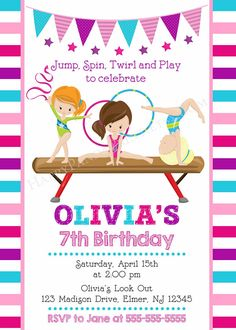 Gymnastic invitation gymnastic birthday invite gymnastics party gymnastic invitation gymnastic birthday invite gymnastics party ideas pinterest gymnastics birthday parties gymnastics birthday and party filmwisefo