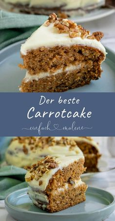 How to bake the perfect Carrot Cake with cream cheese like from Starbucks - The best carrot cake in the world – juicy and full of nuts. With super delicious cream cheese Fro - Greek Recipes, Egg Recipes, Cake Recipes, Carrot Recipes, Brownie Recipes, Cooking Recipes, Best Carrot Cake, Gateaux Cake, Cupcakes