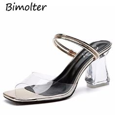 232a759ece US $23.15 |Aliexpress.com : Buy Bimolter Women New Fashion High Heel 8.5cm Sandals  Peep Toe Clear Transparent PVC Thick Heel Pump Summer Outdoor Slipper ...