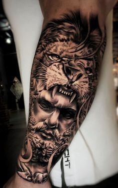 Because animal tattoos are today's skin-ink favorite, we're going to help you navigate through the jungle of ink ideas, bringing you the most beautiful lion tat Warrior Tattoo Sleeve, Lion Tattoo Sleeves, Wolf Tattoo Sleeve, Warrior Tattoos, Best Sleeve Tattoos, Armor Tattoo, Norse Tattoo, Viking Tattoos, Lion Forearm Tattoos