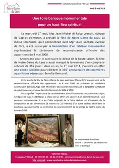 Une toile baroque monumentale de Philippe Casanova à Notre-Dame du Laus inaugurée le 1er mai 2013