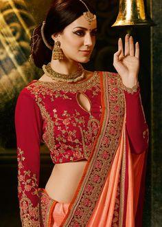 Orange and Pink Pure Banarasi Silk Lehenga Set Orange Lehenga, Silk Lehenga, Art Silk Sarees, Bridal Lehenga, Half Saree Designs, Saree Blouse Designs, Blouse Styles, Dps For Girls, Indian Blouse